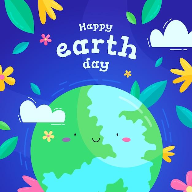 Płaski Dzień Matki Ziemi Darmowych Wektorów