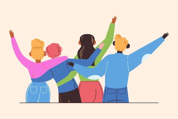 Płaski Dzień Młodości - Ludzie Się Przytulają Premium Wektorów