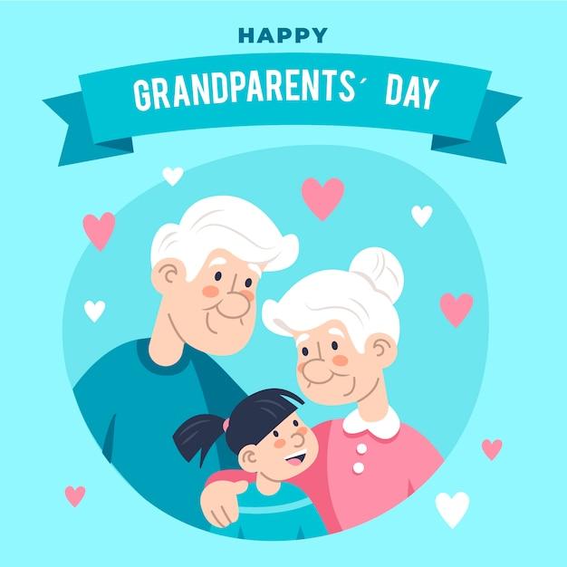 Płaski Dzień Narodowych Dziadków Darmowych Wektorów