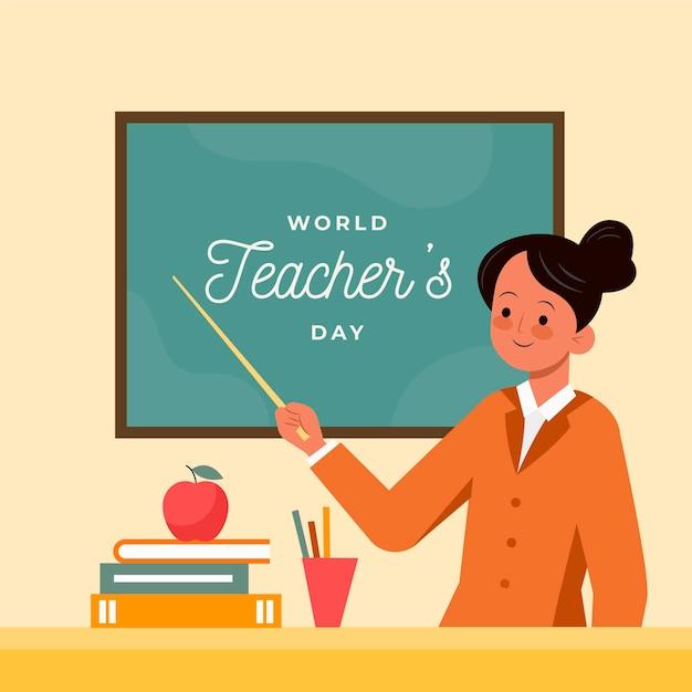 Płaski Dzień Nauczyciela Z Kobietą I Tablicą Premium Wektorów