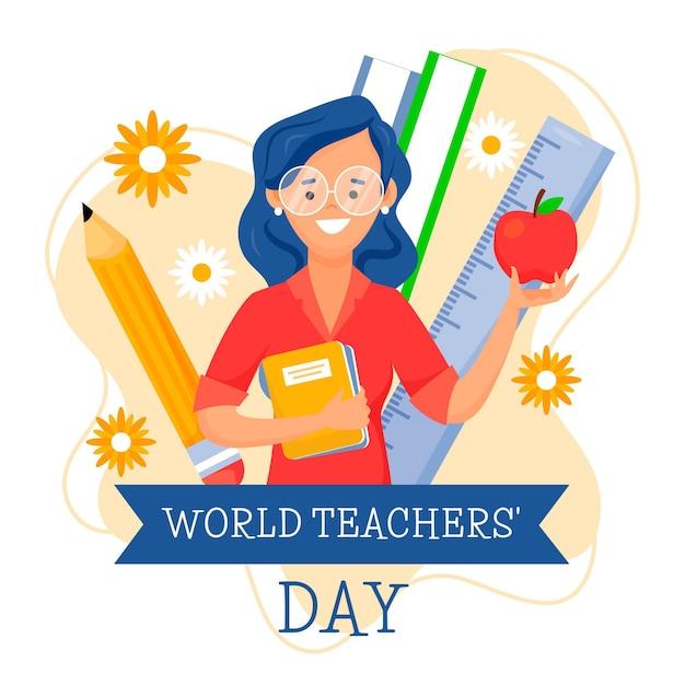 Płaski Dzień Nauczyciela Z Kobietą Premium Wektorów