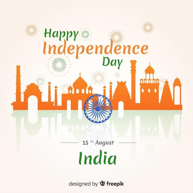 Płaski dzień niepodległości indii tło Darmowych Wektorów