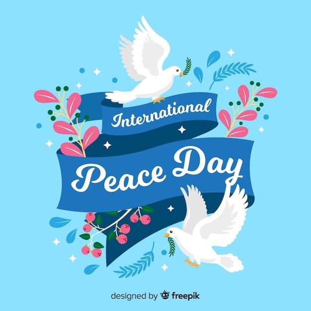 Płaski Dzień Pokoju Z Gołębiami Darmowych Wektorów