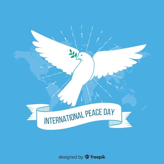 Płaski Dzień Pokoju Z Gołębiem Darmowych Wektorów