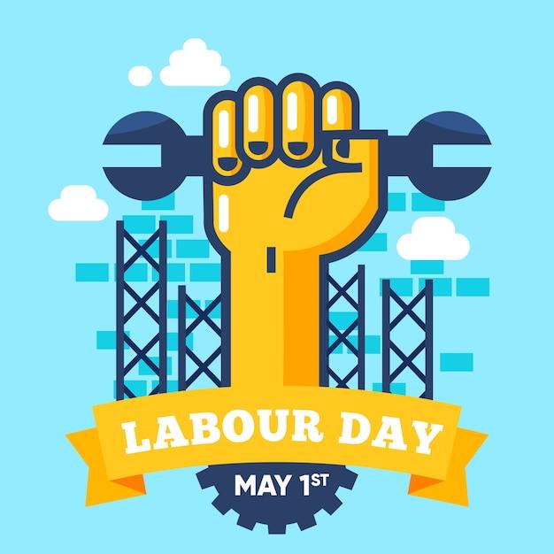 Płaski Dzień Pracy Tło Darmowych Wektorów