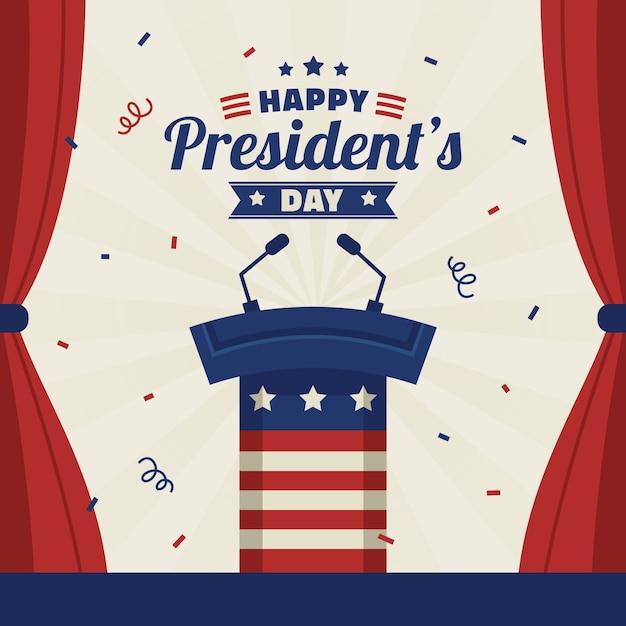 Płaski Dzień Prezydentów Darmowych Wektorów