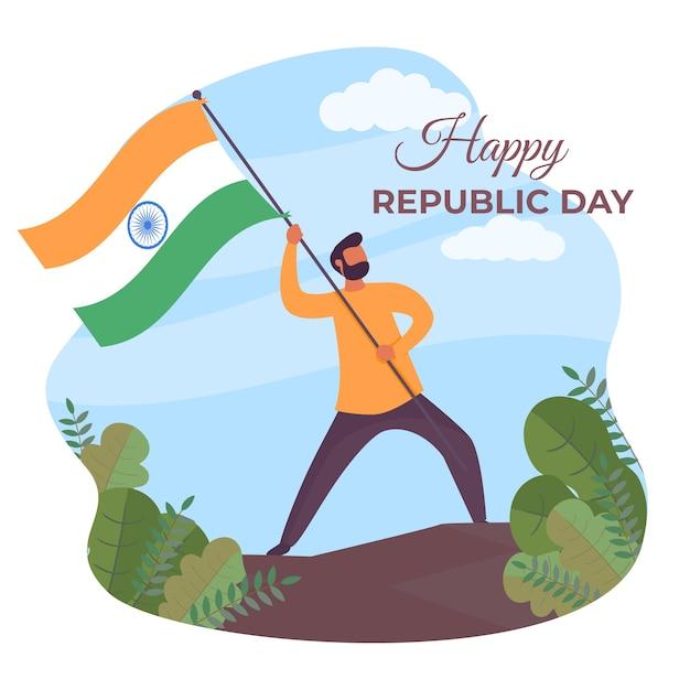 Płaski Dzień Republiki Indii Darmowych Wektorów