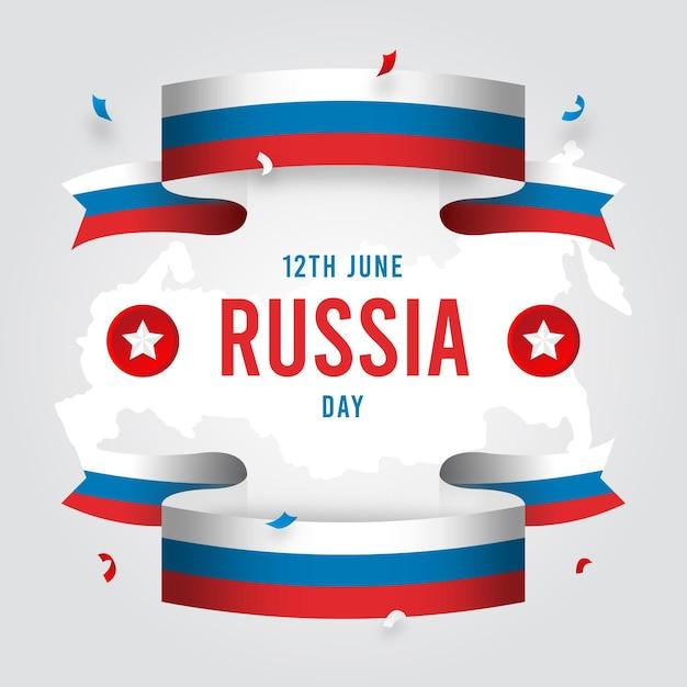 Płaski Dzień Rosji I Wstążki Darmowych Wektorów