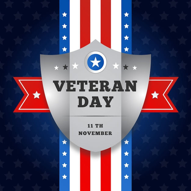 Płaski Dzień Weteranów Z Amerykańską Flagą I Tarczą Darmowych Wektorów
