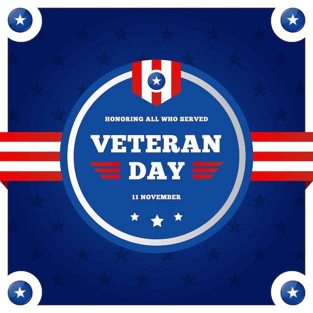 Płaski Dzień Weteranów Z Logo Amerykańskiej Flagi Darmowych Wektorów