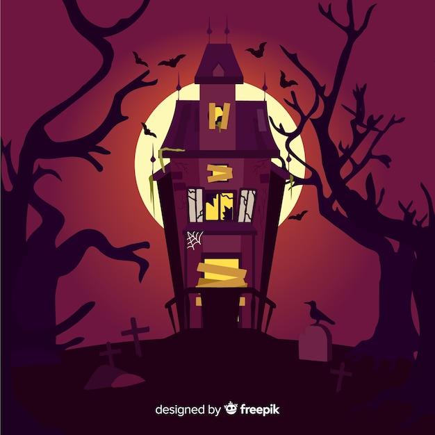 Płaski Halloween Straszny Piękny Dom Darmowych Wektorów