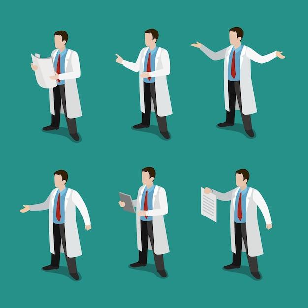Płaski Izometryczny Lekarz W Pracy Zestaw Ikon Koncepcja Darmowych Wektorów
