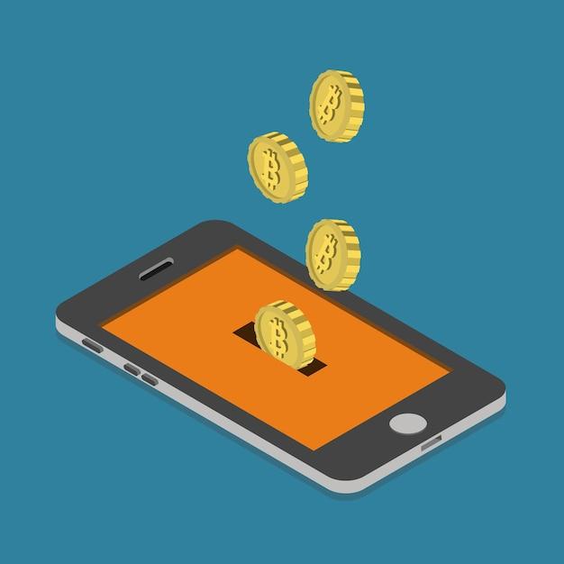 Płaski Izometryczny Portfel Do Wydobywania Płatności Walutowych Bitcoin Online Darmowych Wektorów