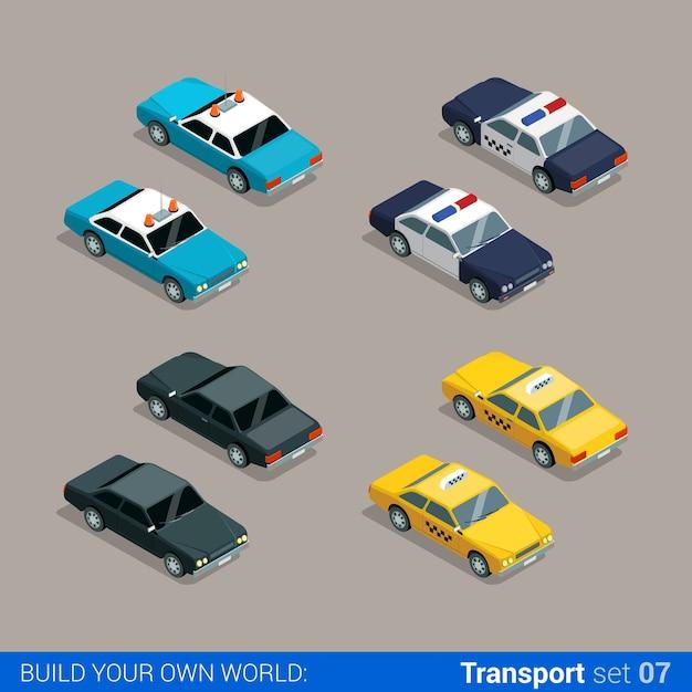 Płaski Izometryczny Zestaw Ikon Transportu Miejskiego Wysokiej Jakości. Samochód Policyjny Szeryfa Taksówka Czarny Specjalny Zbuduj Własną Kolekcję Infografik Internetowych Premium Wektorów