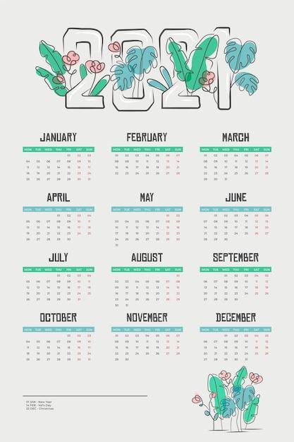 Płaski Kalendarz Nowego Roku 2021 Premium Wektorów