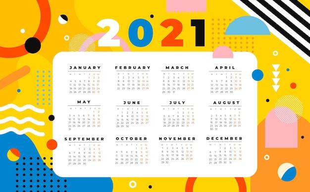 Płaski Kalendarz Nowego Roku 2021 Darmowych Wektorów