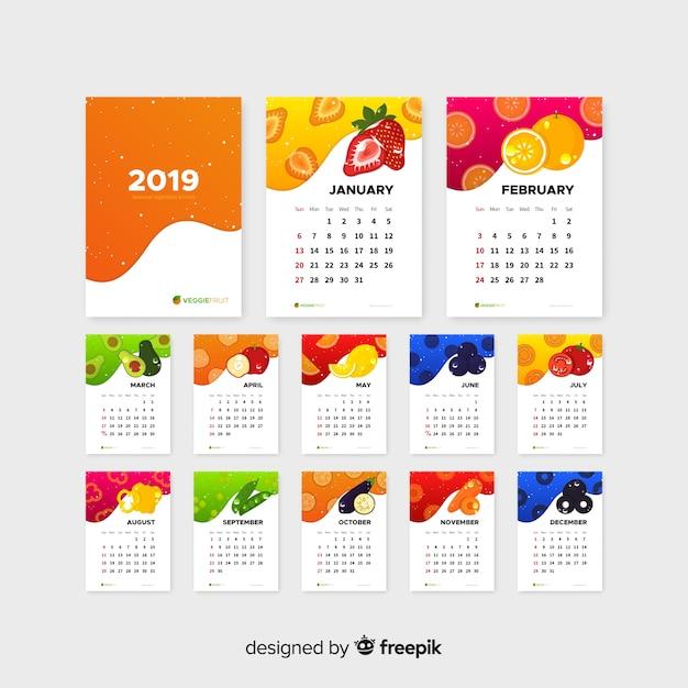 Płaski kalendarz sezonowych warzyw i owoców Darmowych Wektorów