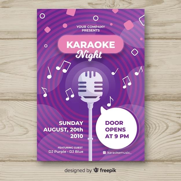 Płaski Karaoke Noc Plakat Szablon Darmowych Wektorów