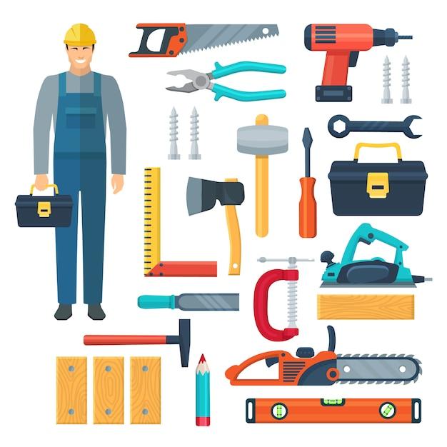 Płaski kolor narzędzia zestaw z drewna w kombinezon narzędziowy i narzędzia do cięcia i stolarki na białym tle ilustracji wektorowych Premium Wektorów