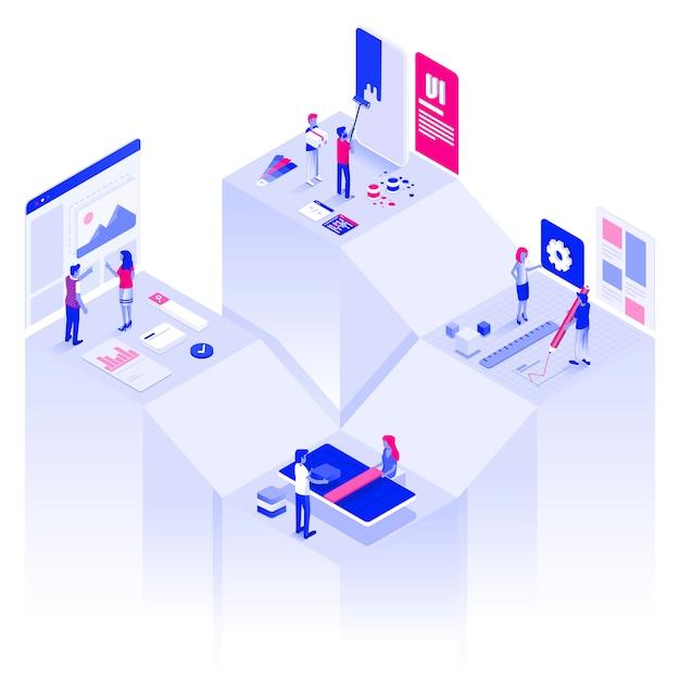 Płaski kolor nowoczesny izometryczny ilustracja sieci i rozwoju Premium Wektorów