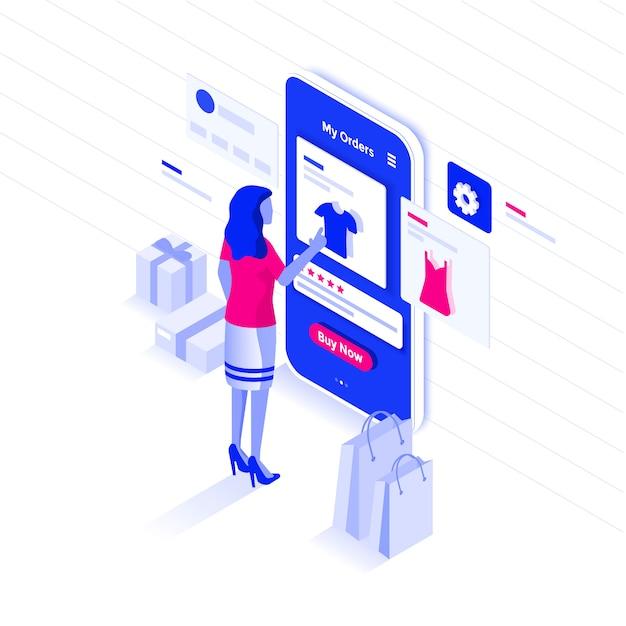 Płaski kolor nowoczesny izometryczny ilustracja zakupy online Premium Wektorów