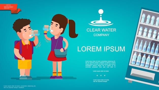 Płaski Kolorowy Szablon Czystej Wody Z Wodą Pitną Dla Chłopca I Dziewczynki Oraz Prezentowaną Lodówką Do Chłodzenia Napojów Darmowych Wektorów