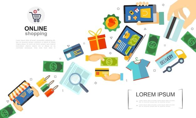 Płaski Kolorowy Szablon E-commerce Darmowych Wektorów