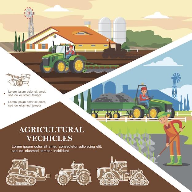 Płaski Kolorowy Szablon Rolniczy Z Rolnikami Zbierającymi Plony I Transportującymi Ziemię Za Pomocą Pojazdów Rolniczych Darmowych Wektorów