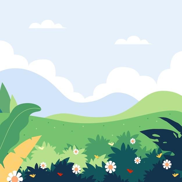 Płaski Krajobraz Wiosenny Krajobraz Darmowych Wektorów
