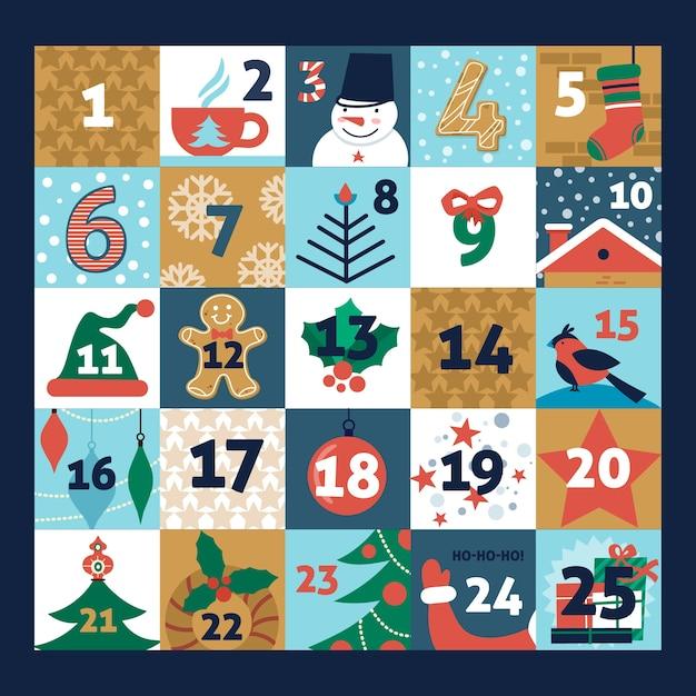 Płaski kształt świąteczny kalendarz adwentowy Darmowych Wektorów