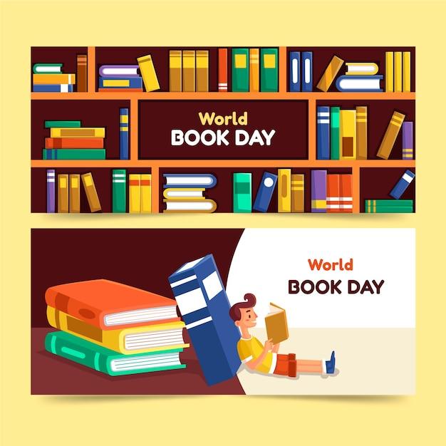 Płaski Kształt światowy Dzień Książki Szablon Banery Darmowych Wektorów