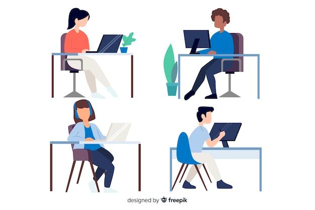 Płaski kształt znaków pracowników biurowych siedzi Darmowych Wektorów