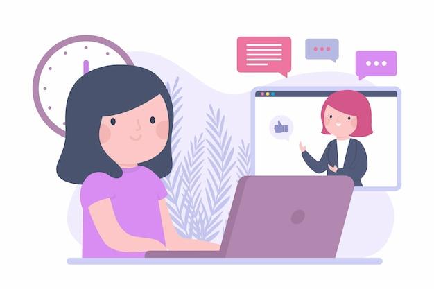 Płaski Kurs Online Z Dziewczyną I Laptopem Premium Wektorów