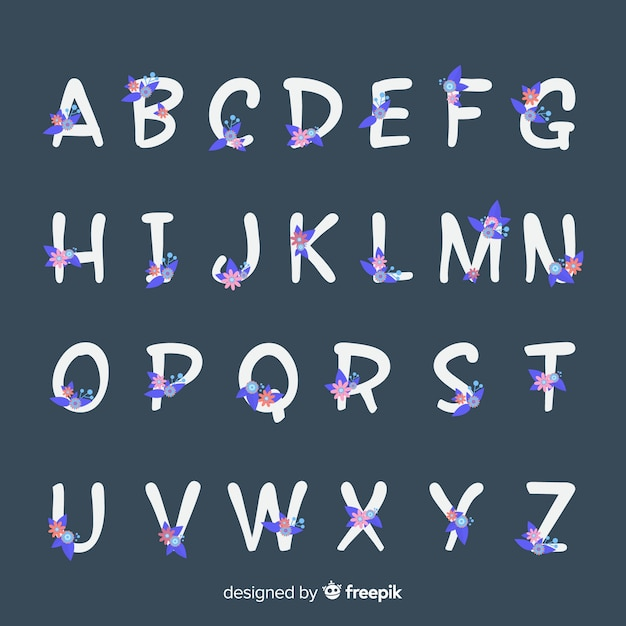 Płaski kwiatowy alfabet Darmowych Wektorów