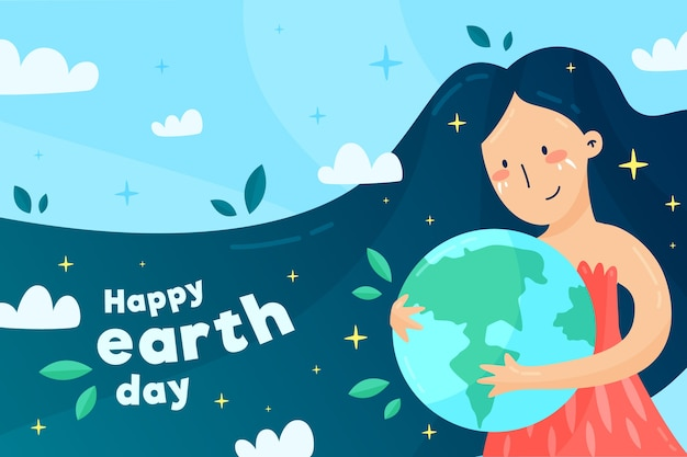 Płaski ładny Ilustrowany Dzień Matki Ziemi Darmowych Wektorów
