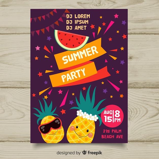 Płaski lato party plakat szablon Darmowych Wektorów