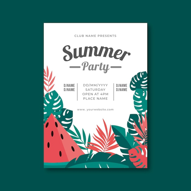 Płaski Letni Plakat Party Z Tropikalnymi Ilustracjami Darmowych Wektorów