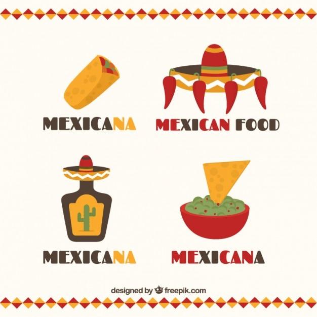 Płaski meksykańska restauracja logo kolekcji Darmowych Wektorów