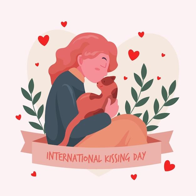 Płaski Międzynarodowy Dzień Całowania Ilustracja Z Kobietą I Kotem Darmowych Wektorów