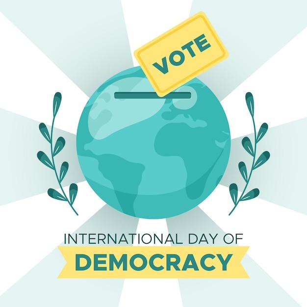Płaski Międzynarodowy Dzień Demokracji Z Kulą Ziemską Darmowych Wektorów