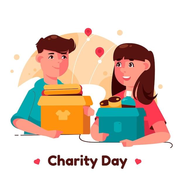Płaski Międzynarodowy Dzień Ilustracji Miłości Darmowych Wektorów