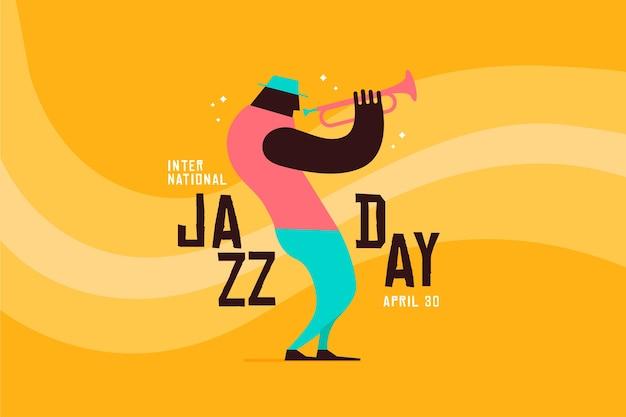 Płaski Międzynarodowy Dzień Jazzowy Tło Darmowych Wektorów
