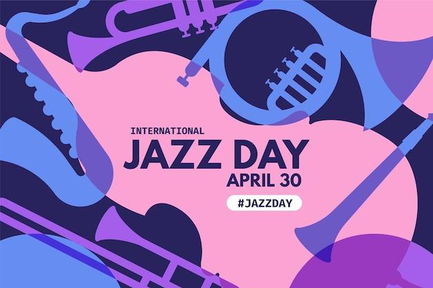 Płaski Międzynarodowy Dzień Jazzowy Darmowych Wektorów