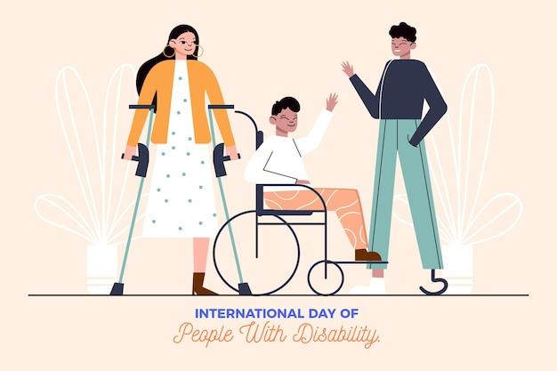 Płaski Międzynarodowy Dzień Osób Niepełnosprawnych Darmowych Wektorów
