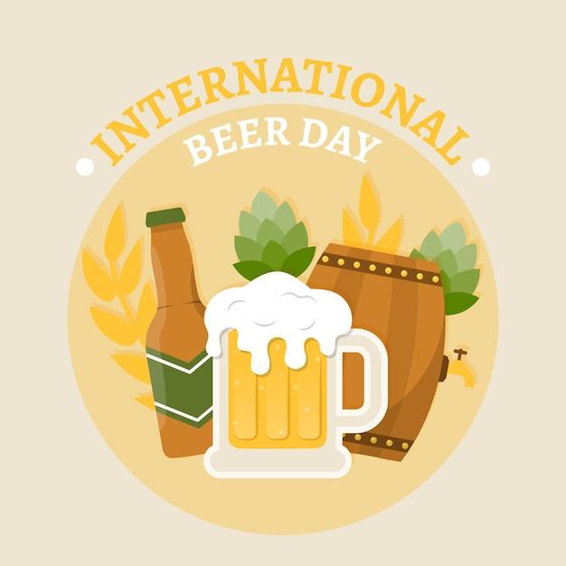 Płaski Międzynarodowy Dzień Piwa Darmowych Wektorów