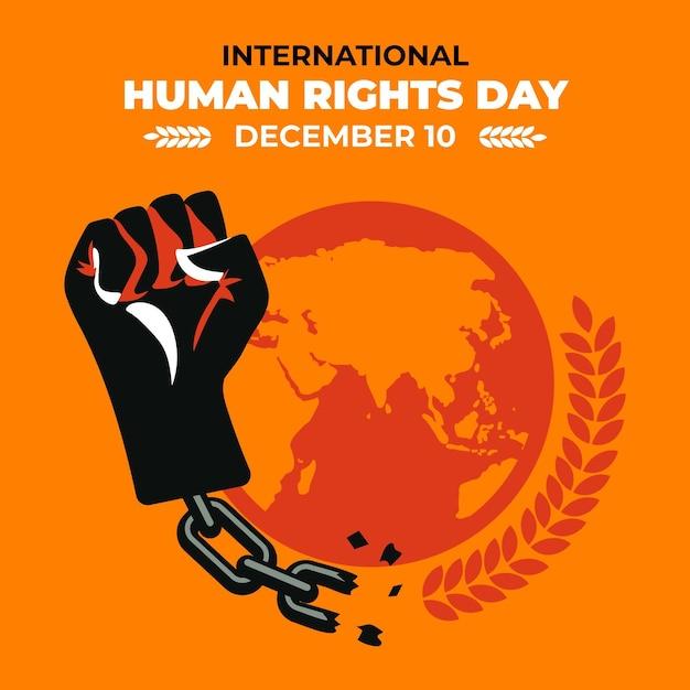 Płaski Międzynarodowy Dzień Praw Człowieka Z Pięścią Premium Wektorów