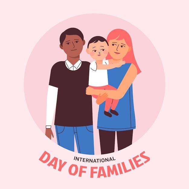 Płaski Międzynarodowy Dzień Rodzin Darmowych Wektorów