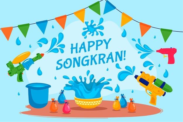 Płaski Motyw Festiwalu Songkran Darmowych Wektorów