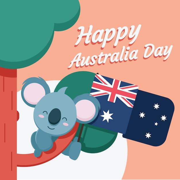 Płaski Motyw Na święto Australii Darmowych Wektorów