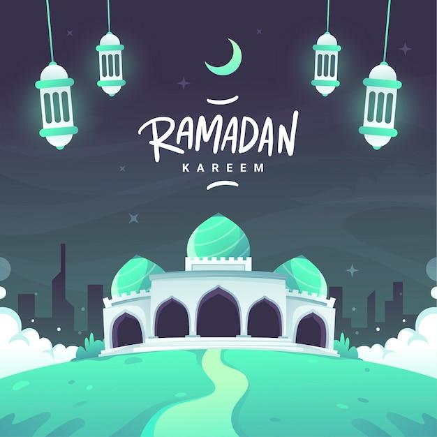 Płaski Napis Kareem Ramadan Darmowych Wektorów